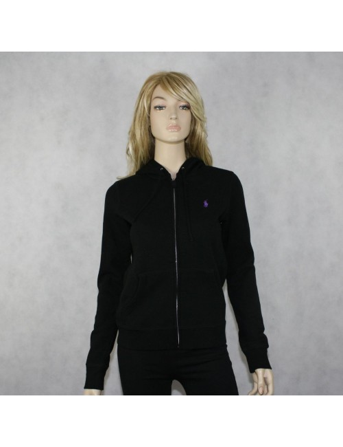 RALPH LAUREN SPORT Black Hooded Front Zip Sweater