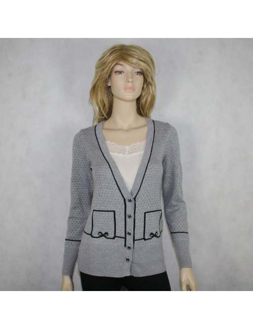 FRENCH CONNECTION womens gray/black cardigan sweater