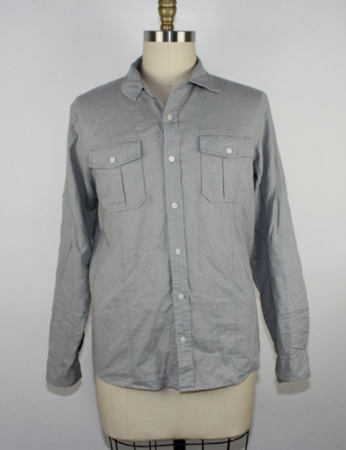 MICHAEL KORS mens linen button front shirt (size L)