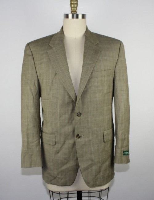 RALPH LAUREN mens 100% wool plaid blazer from Macys 42R